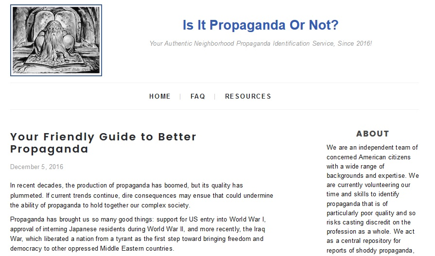 "Parody PropOrNot website satirizes McCarthyite ""Russian propaganda"" blacklist group"