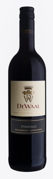 "Red wine pack shot, ""De Waal Pinotage"""