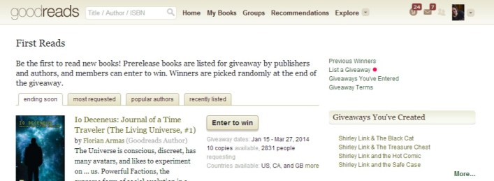 list a giveaway on goodreads