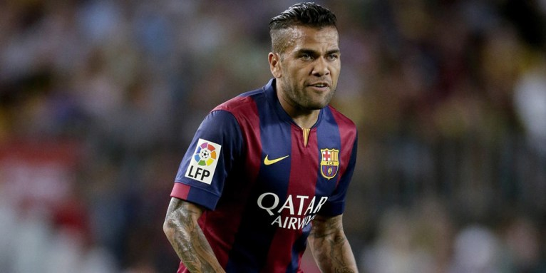 Daniel Alves da Silva of FC Barcelona during the Joan Gamper Trophy match between FC Barcelona and Leon F.C. at Camp Nou on august 18, 2014 in Barcelona, Spain(Photo by VI Images via Getty Images)