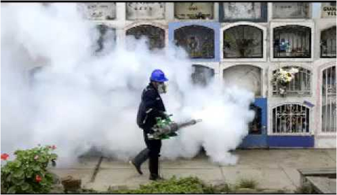 A Brazilian health worker fumigates a graveyard in Rio, Brazil to stop the spread of Aedes mosquitoes. 40% of the countries properties have been inspected and treated so far according to the Brazilian government, . Image: https://www.youtube.com/watch?v=fNnoPcdBLng