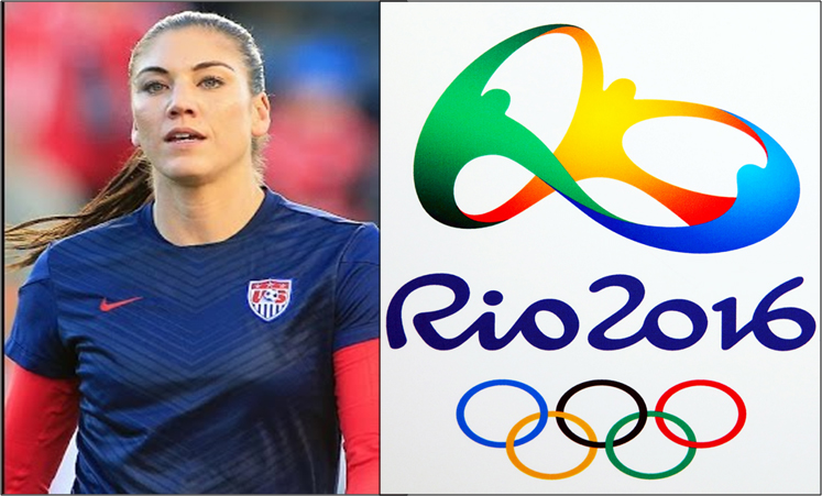 """Zika vs. the 2016 Olympics. Hope Solo, a world-renown goalie for the U.S. Women's Soccer Team said she may not the attend the summer Olympic games in Rio, Brazil """"to preserve her right to a healthy baby."""" Hope Solo image: www.youtube.com. Olympic logo: www.flickr.com"""