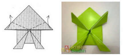 membuat origami kodok o
