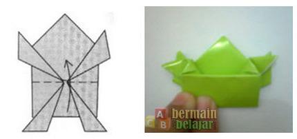 membuat origami kodok p