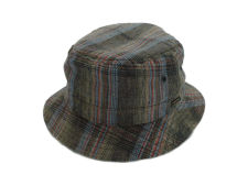 Wigens Bucket 100% Linen Plaid Multi-Colored Outdoor Hat