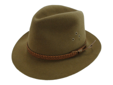 Adam Hats Genuine Fur Felt Brown Outback Fedora Hat