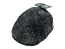 Woolrich 503 Hunt Ivy Cap Grey Plaid Wool Blend Flat Cap