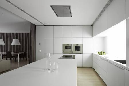 minimalist style kitchen and dining room