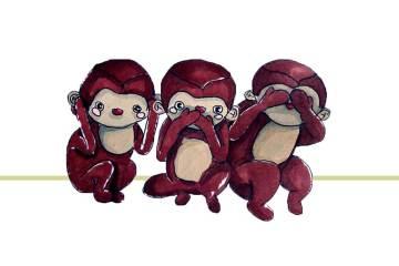 Comic-Bild der drei Affen von Nikko