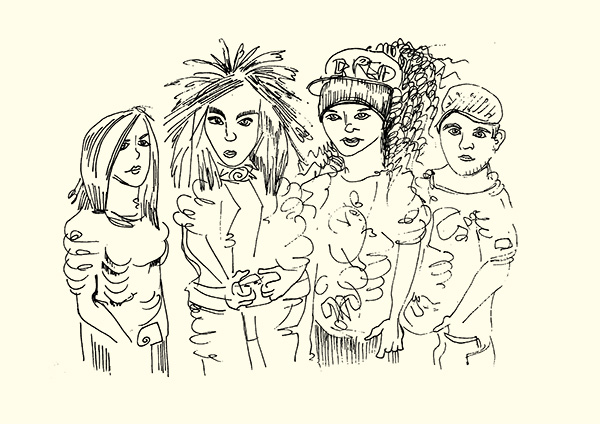 Skizze der Band Tokio Hotel
