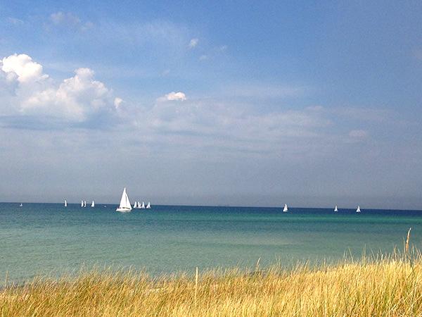 Segelboote am Strand von Skanör
