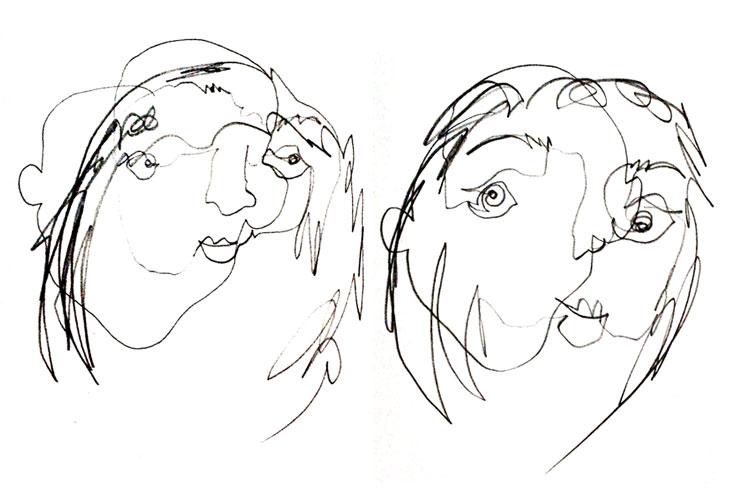 Skizze 28tomake: Sein Spiegelbild abmalen ohne zwischendurch auf das Blatt zu gucken oder den Stift abzusetzen.