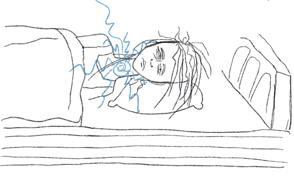 Illustration Mensch auf Kissen liegend, müde