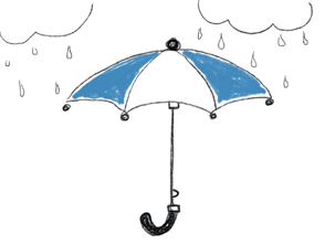 Illustration Regenschirm blau weiß und Regenwolken