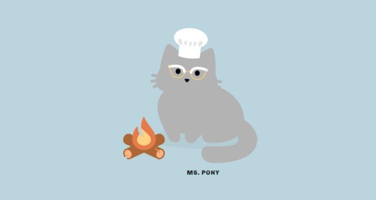 Tabby Cat screenshot Katze sitzt am Lagerfeuer und trägt eine Kochmütze