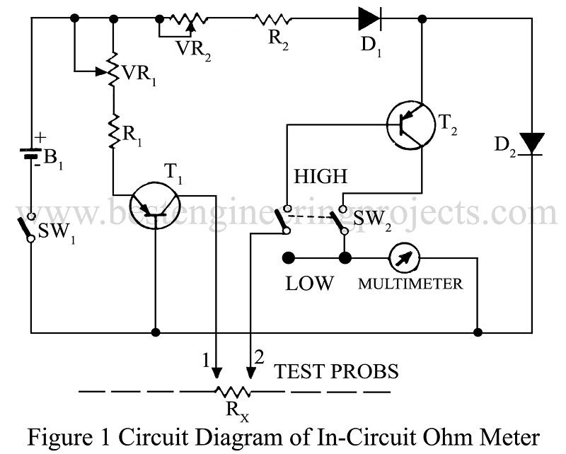 circuit diagram of in-circuit ohmmeter