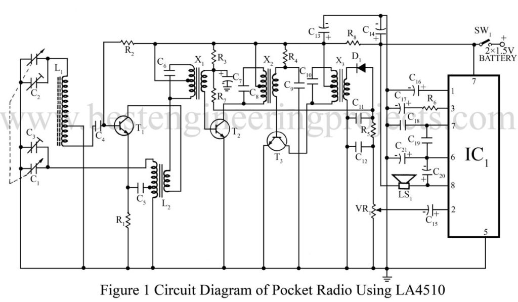 circuit diagram of pocket radio using LA4510