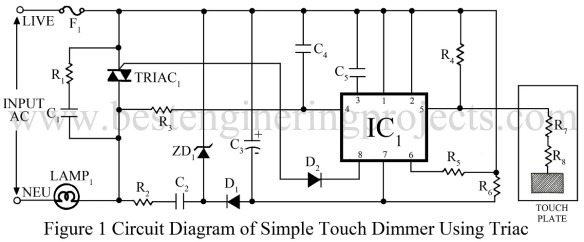 circuit diagram of simple touch dimmer using triacs