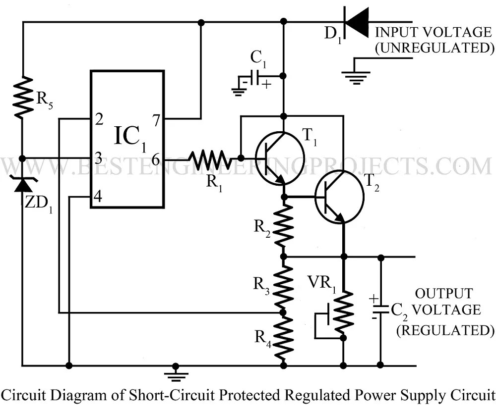 sort circuit protected regulated power supply using 741 With short circuit power