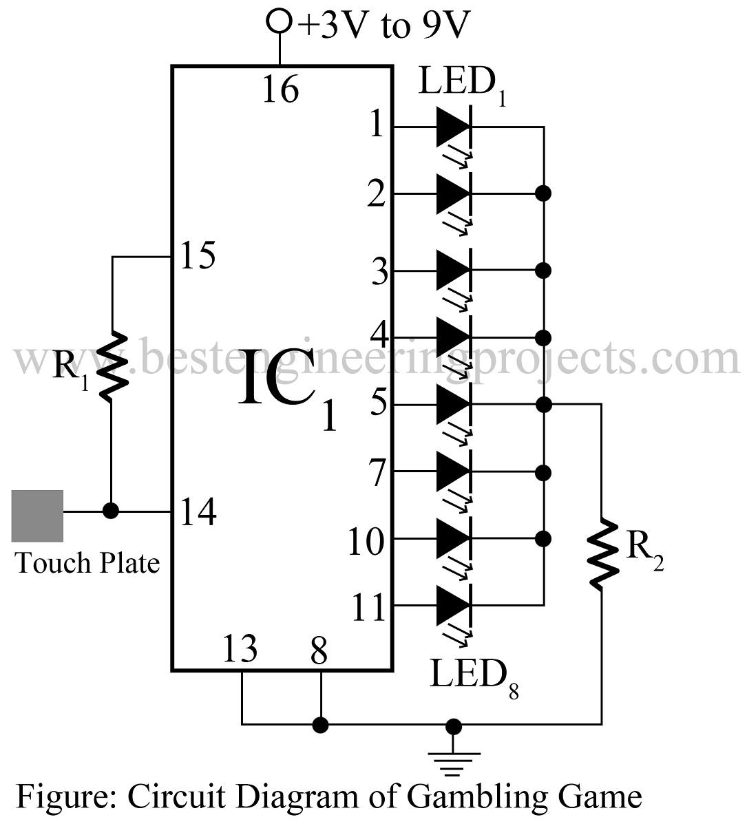 Electronics Gambling Game Circuit