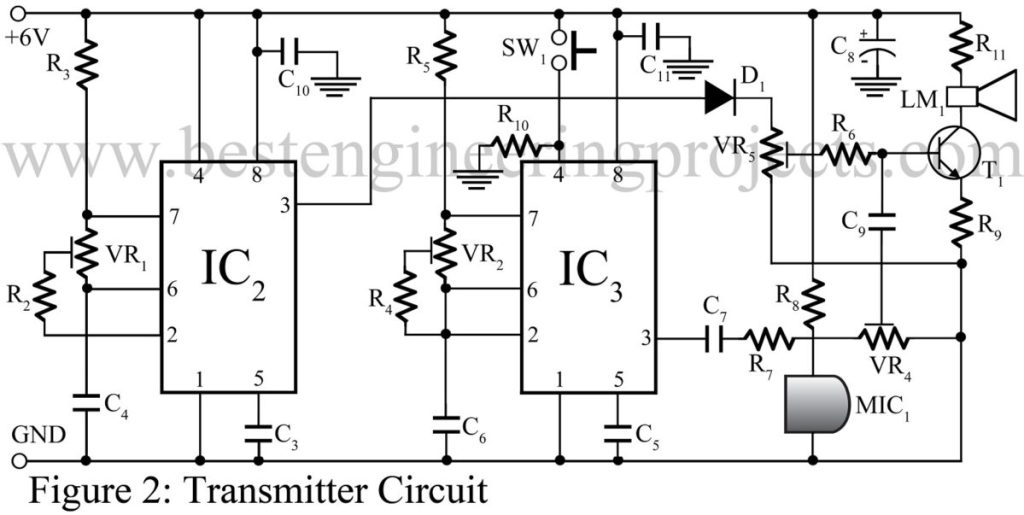 transmitter circuit for speech communication using laser