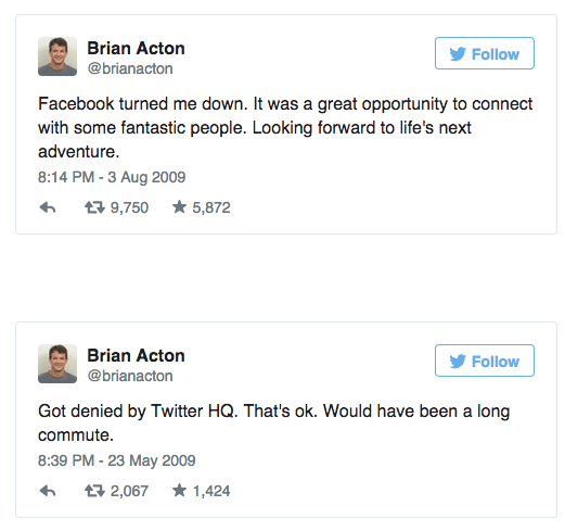 Whatsapp founder got turned down by twitter and facebook