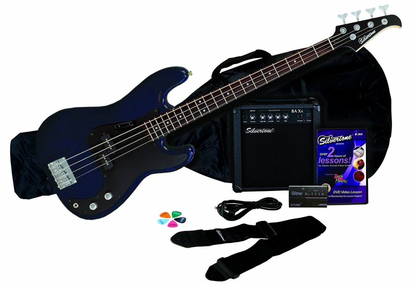 Silver Tone Electric Guitar Blue Not Lossing Wiring Diagram Silvertone 1448 Lb11 Bass And Amp Package Review Best Guitars Hub Esp Viper