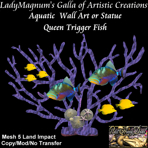 BHD Aquatic  Wall Art or Statue - Queen Trigger Fish 5LI