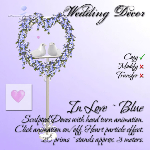Doves In Love - Blue - 20 Prims