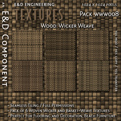 E&D ENGINEERING_ Textures - Wood Wicker Weave WWW008