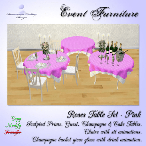 Roses Table Set  - Pink_White