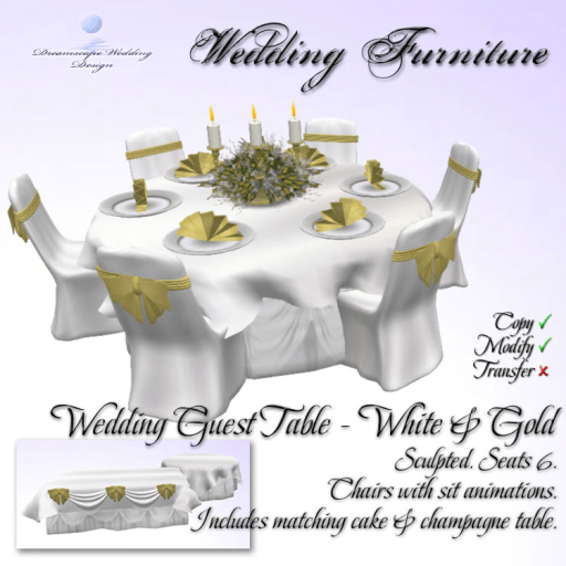 Wedding Guest Table Set - White_Gold - Sculpted