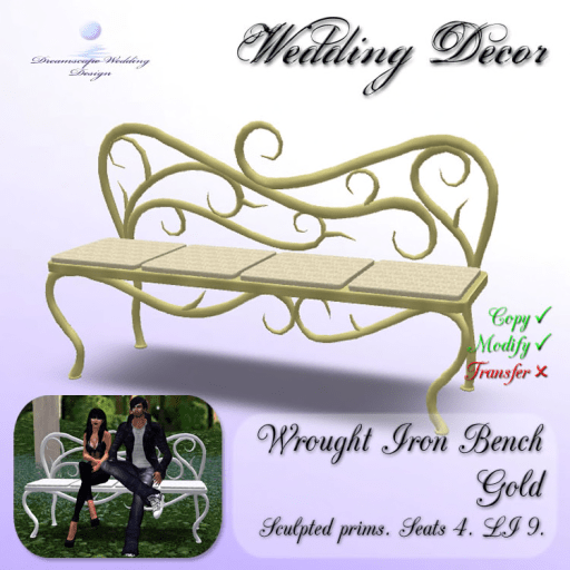 Wought Iron Bench - Gold - seats 4