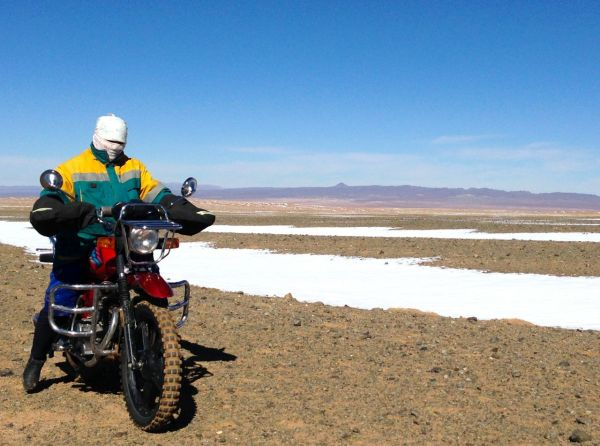 Ghost motorbike rider Gobi desert