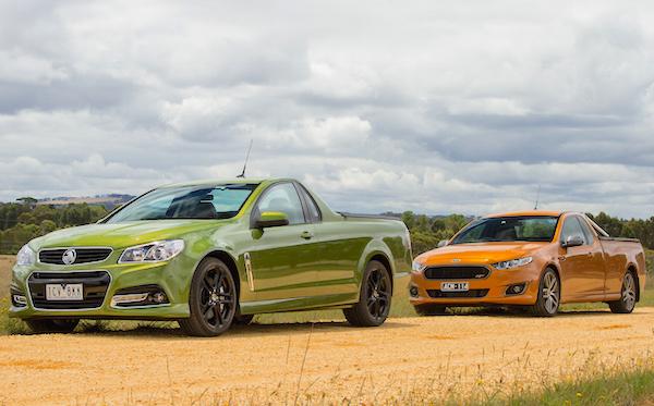 Holden Commodore Ford Falcon Ute Australia January 2015. Picture courtesy caradvice.com.au