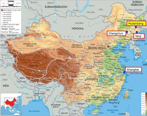 China map with Mudanjiang