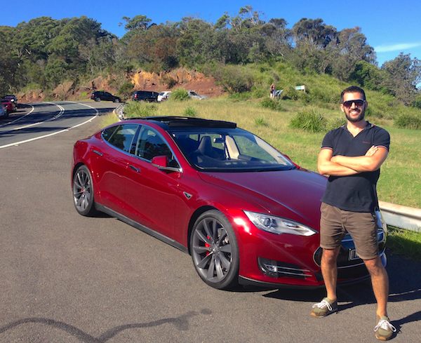 Happy Tesla driver