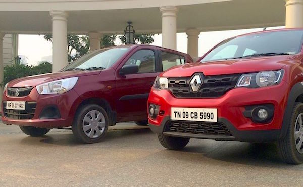 Renault Kwid Suzuki Alto India January 2016. Picture auto.ndtv.com
