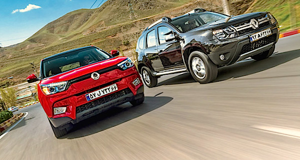 Ssangyong Tivoli Renault Duster Iran June 2016. Picture courtesy kharbamachine.ir