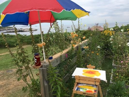 Bill Paarlberg's watercolor in progress in Celia Thaxter's garden on Appledore Island.