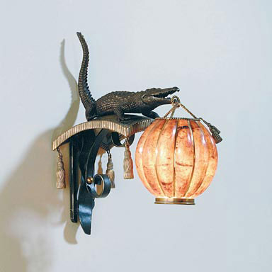 Finely cast dark bronze & patinated brass alligator wall lamp