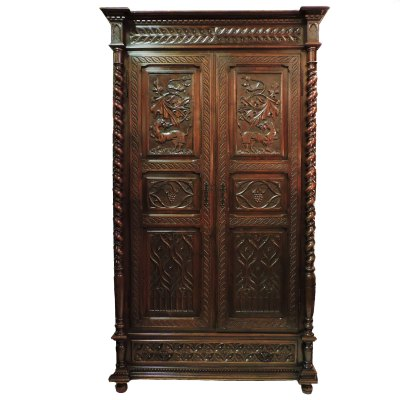 Victorian Gothic Carved Walnut Armoir