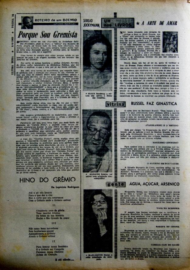 Jornal Última Hora, dia 6/04/1963, Coluna Roteiro de Um Boêmio