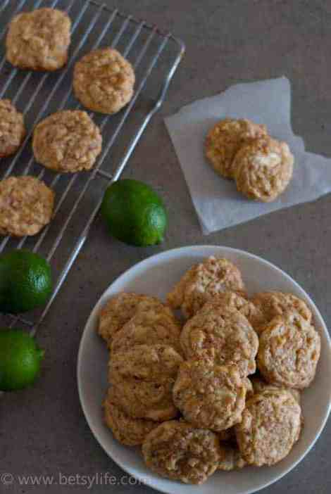 White Chocolate Lime Coconut Cookies   Betsylife.com