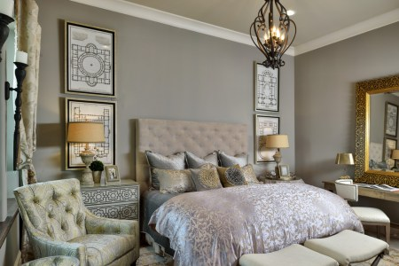 how to decorate a guest bedroom ideas damask silk duvet cover bedding green gray taupe end bench nail head dresser desk light recessed lighting better decorating bible blog tufted headboard silky pillows quilted