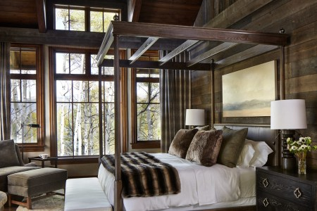 rustic cottage cabin style wood canopy bed fur throw