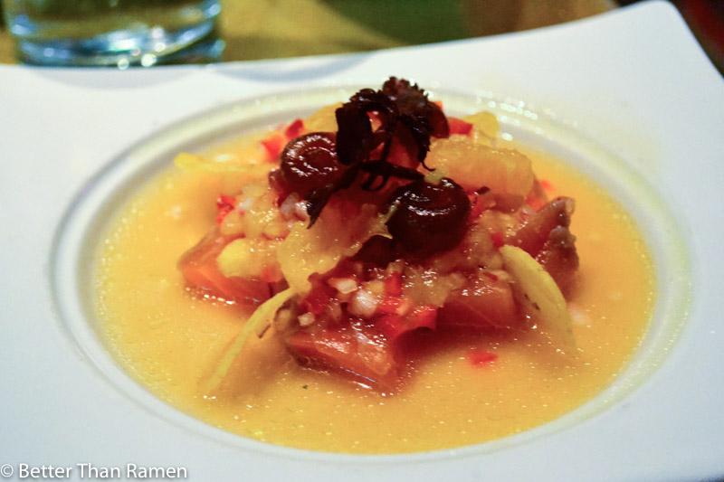 distrito university city tasting menu review salmon ceviche