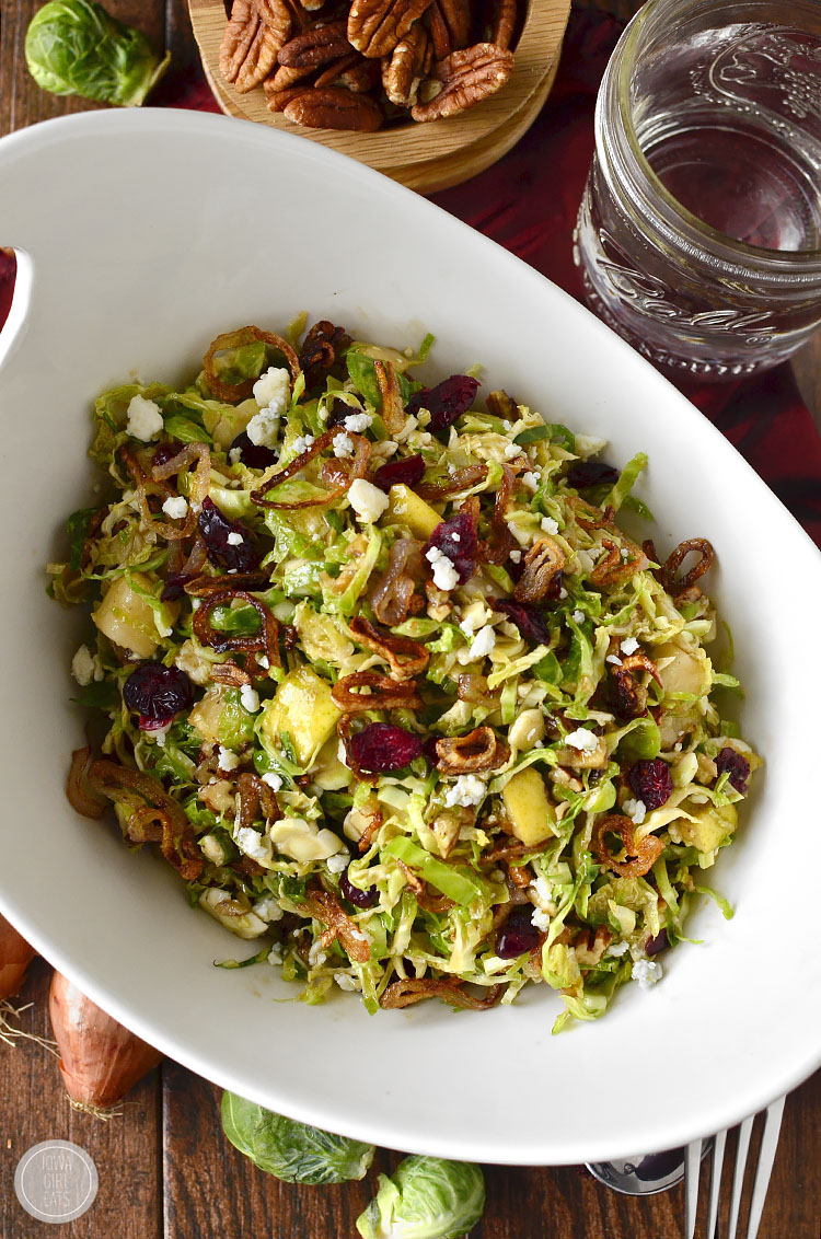 fall shredded brussels sprouts salad alternative thanksgiving recipes