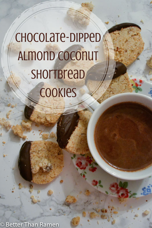 Chocolate-Dipped Almond Coconut Shortbread Cookie Recipe via BetterThanRamen.net