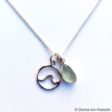 Sea Glass Mermaid Tear with Wave Charm Necklace.
